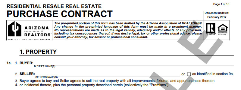 Arizona residential purchase contract phoenix az real estate and homes for sale - Factors to consider when buying a house ...