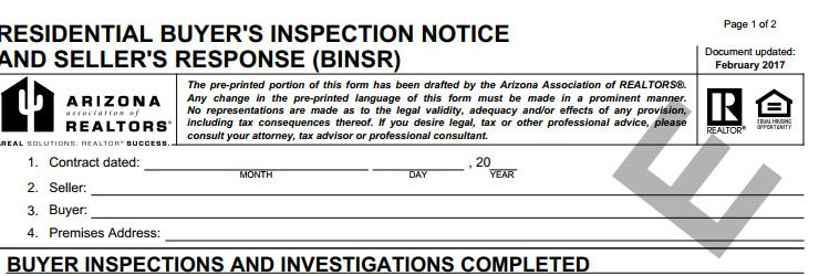 Buyer Inspection Notice And Seller Response Binsr
