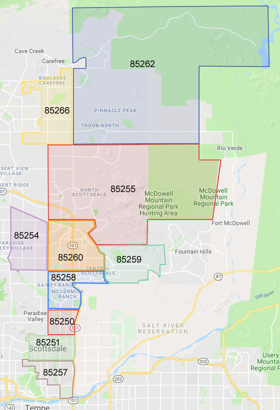 Scottsdale AZ Zip Code Map - Phoenix AZ Real Estate and ...